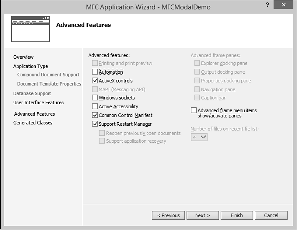 MFCModalDemo Advanced Features